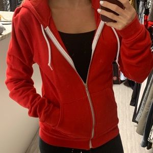 American Apparel red zip up hoodie